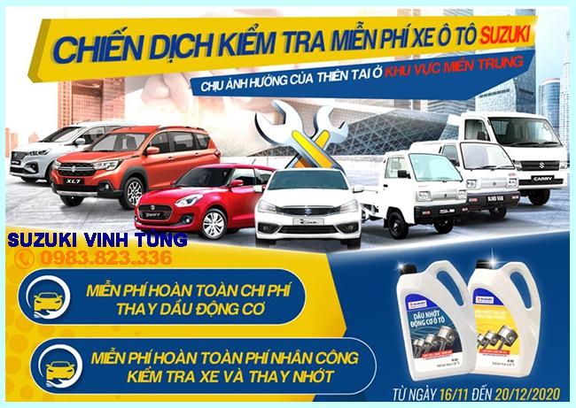 Thông báo kiểm tra và thay nhớt xe ô tô Suzuki miễn phí khu vực Miền Trung